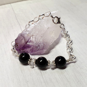 Black tourmaline gemstone bracelet.