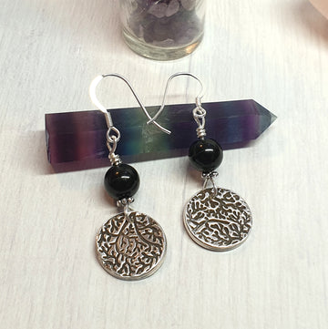 Black tourmaline silver medallion earrings.