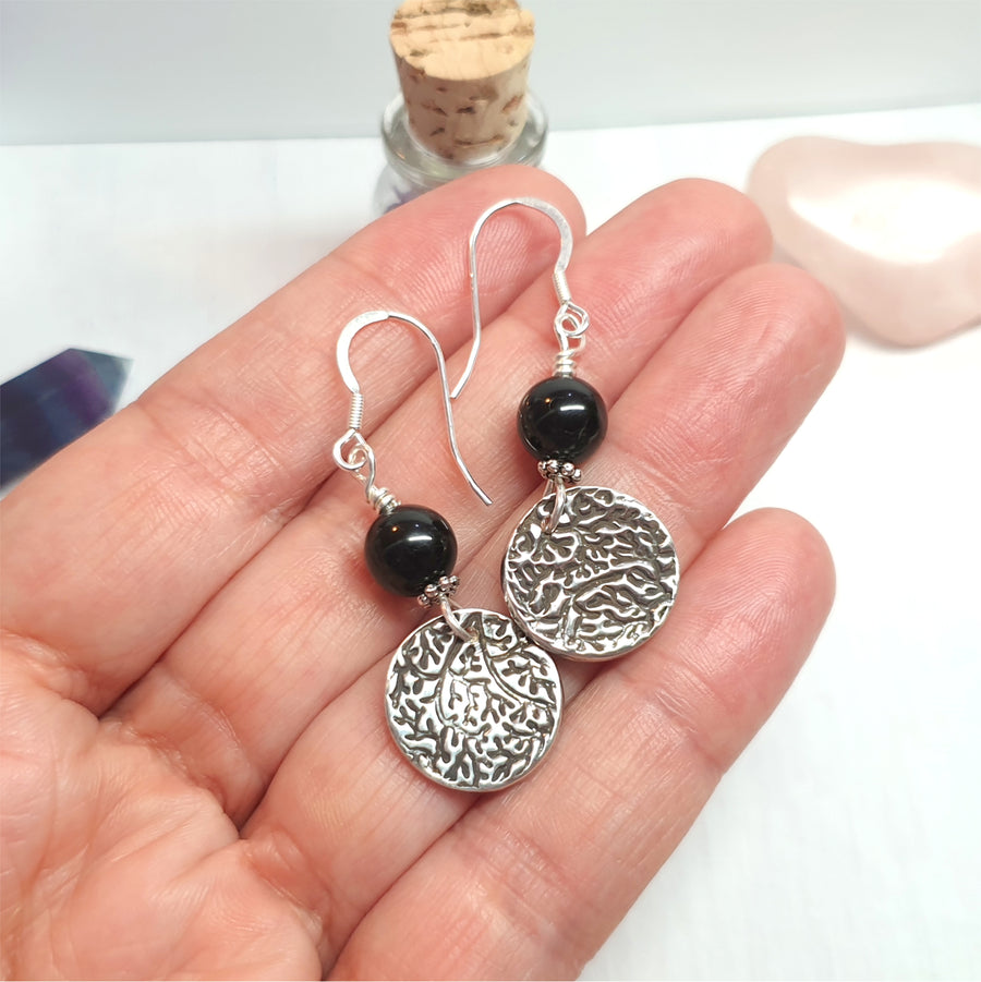 Black tourmaline gemstone earrings in silver.