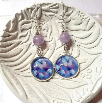 Lavender jade butterfly earrings.