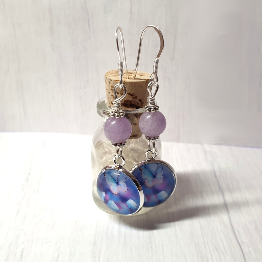 Butterfly and lavender jade dangle earrings.