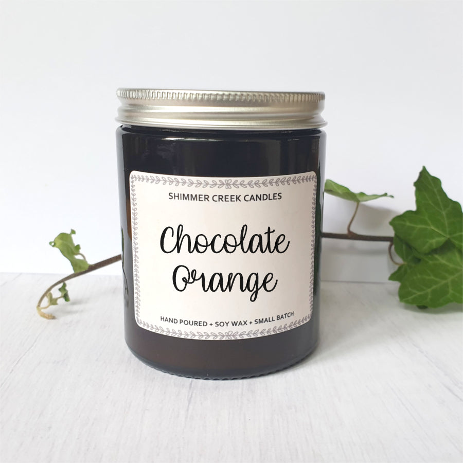 Chocolate orange scented candle.