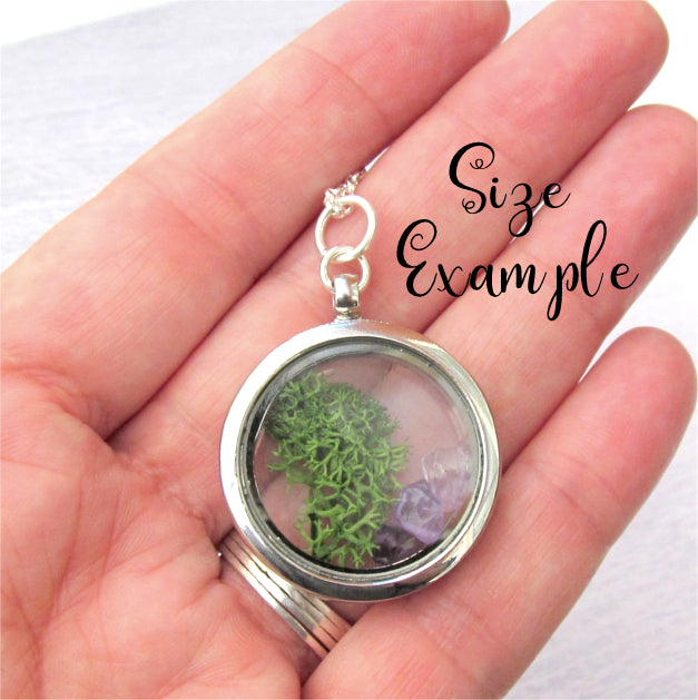Floating locket necklace.