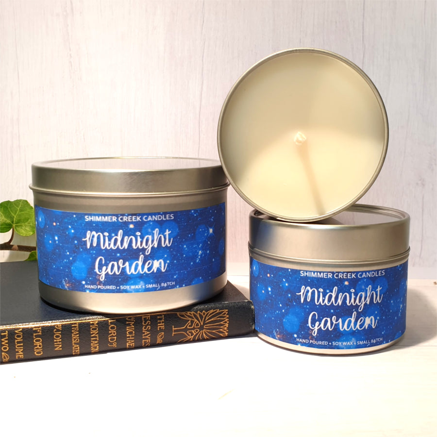 Relaxing soy wax scented candle tin.