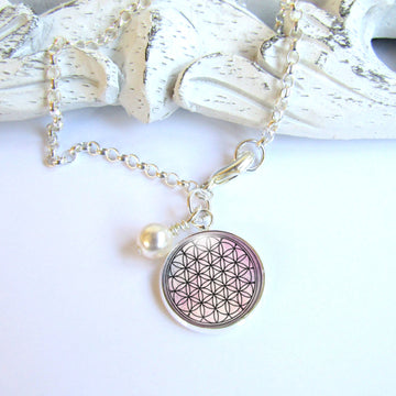 Flower Of Life Sterling Charm Bracelet