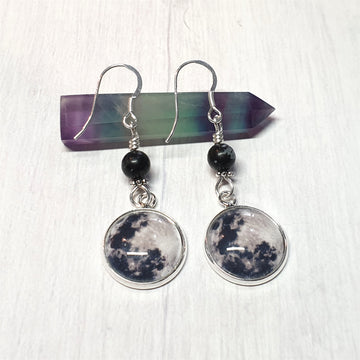 Full Moon Earrings With Snowflake Obsidian