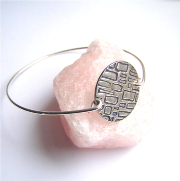 Sterling geometric bangle