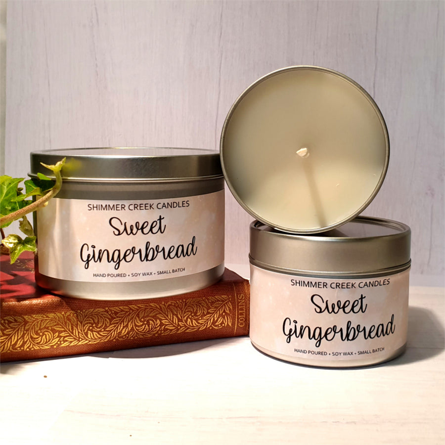 Gingerbread scented soy wax candle.