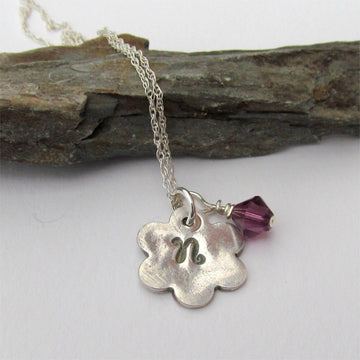 Silver Initial Necklace With Birthstone Crystal