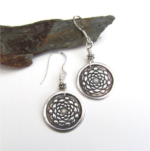 Boho lotus earrings