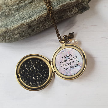 I carry your heart quote necklace.