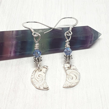 Crescent Moon Dangle Earrings With Crystals