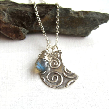 Silver Moon Labradorite Necklace