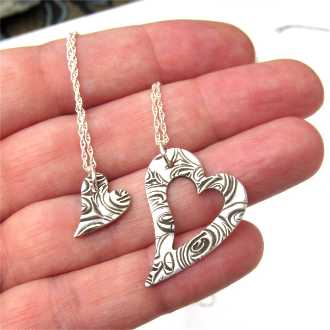 Heart necklace set.