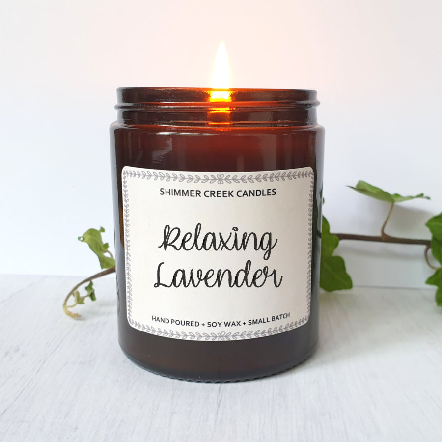 Relaxing lavender scented candle.