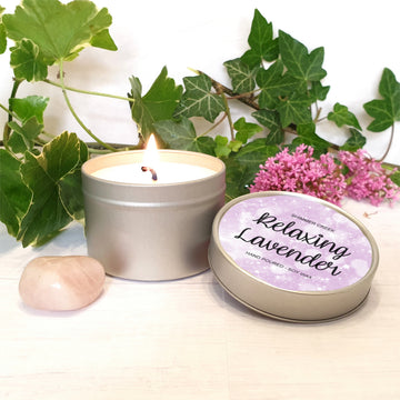 Relaxing Lavender natural soy wax candle.