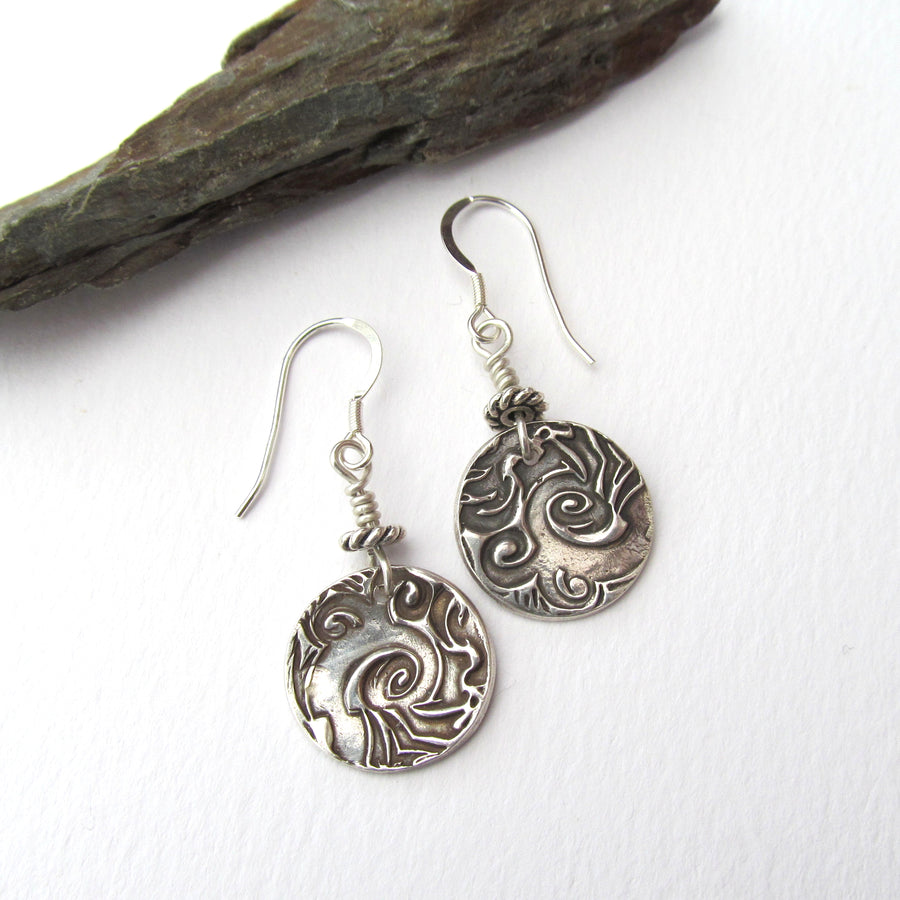 Earthy rustic silver earrings