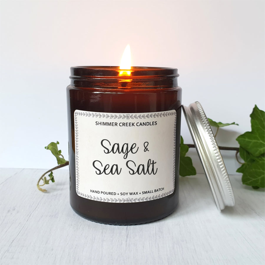 Sage & sea salt scented soy candle.
