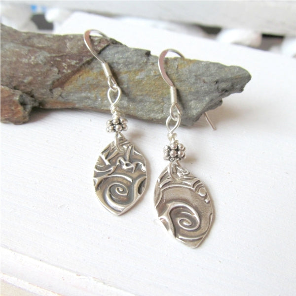 silver ocean wave earrings