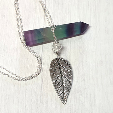 Real leaf silver necklace.