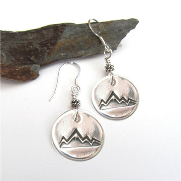 Sterling silver mountain peak earrings.
