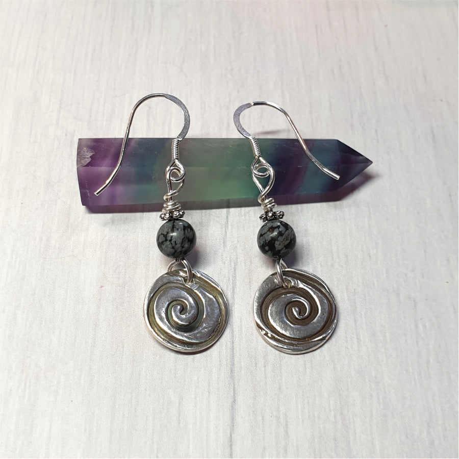 Sterling spiral earrings with snowflake obsidian beads.