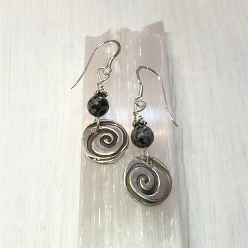 Whimsical spiral earrings with snowflake obsidian.