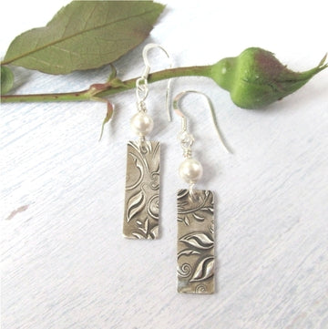 Romantic silver vine earrings