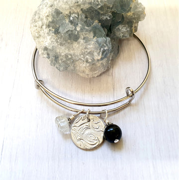 Black tourmaline and clear quartz bracelet.