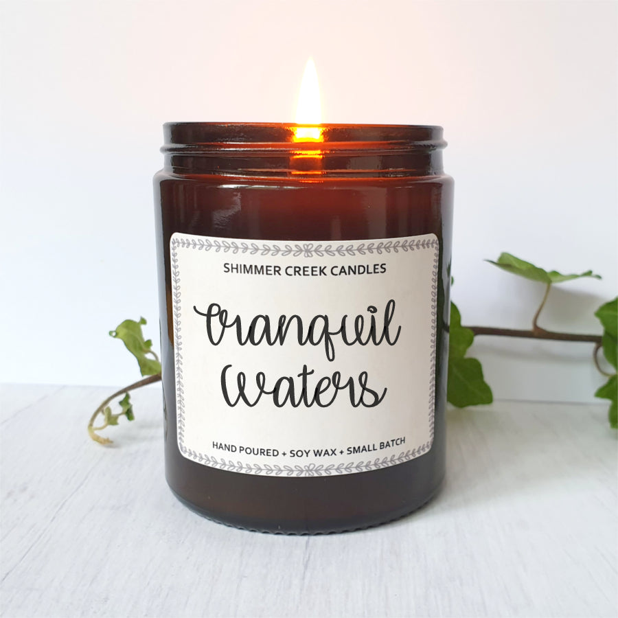 Eco friendly soy wax candle with tranquil fragrance.
