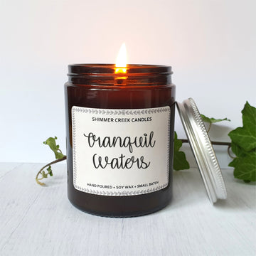 Tranquil waters soy wax candle.