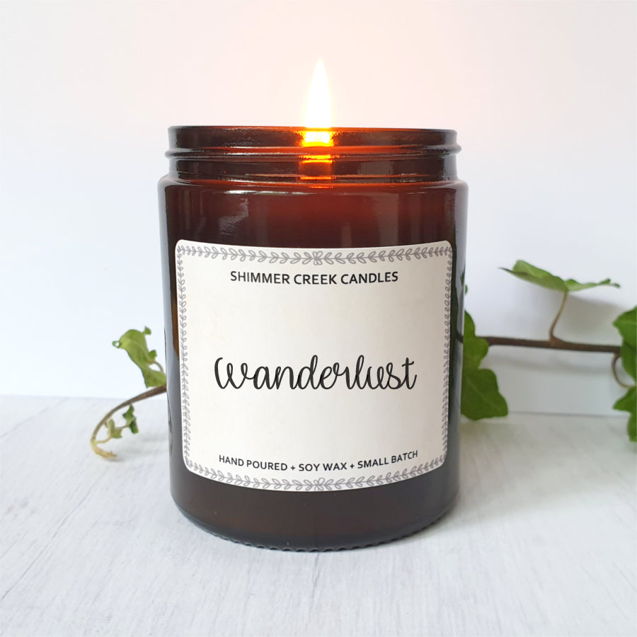 Vegan friendly wanderlust soy wax candle.