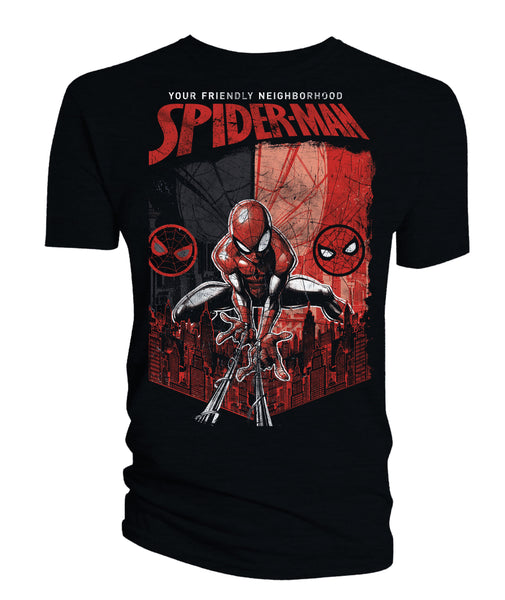 YOUR FRIENDLY NEIGHBORHOOD SPIDER-MAN BLACK W/ RED GRAPHICS T-SHIRT