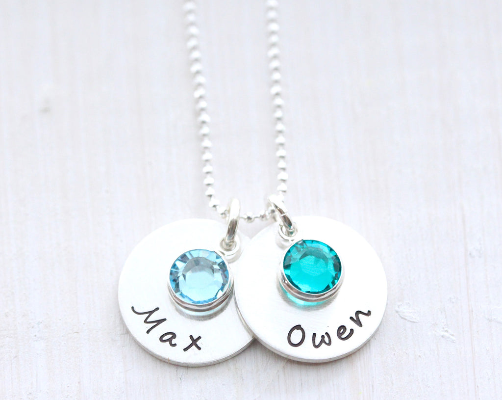 Side by Side Silver Drops with Birthstones