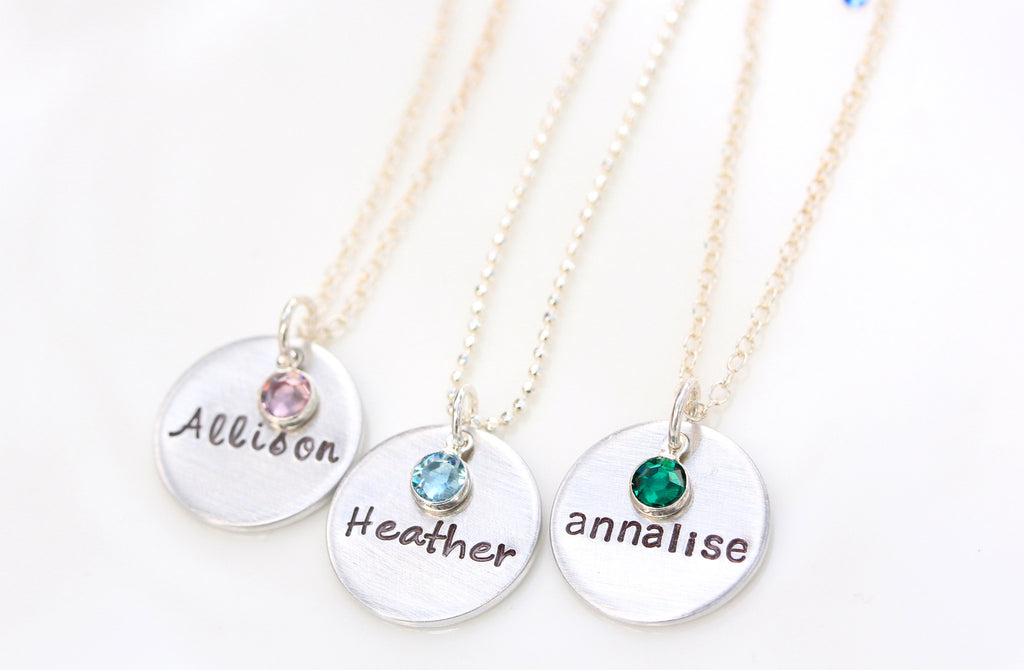 single drop necklace with mini birthstone {sterling silver}