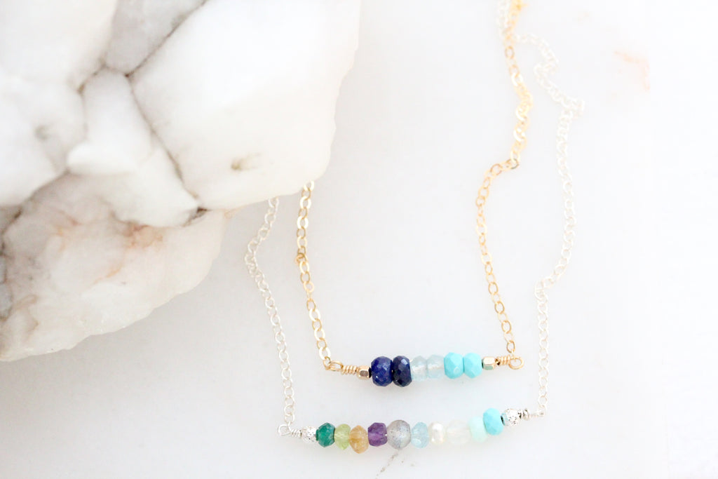 lineage birthstone necklace {silver & gold}