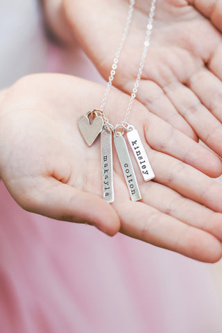 vertical bar necklace {with heart}