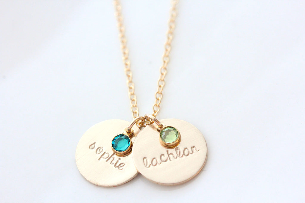 drop necklace with mini birthstone {14K gold filled}