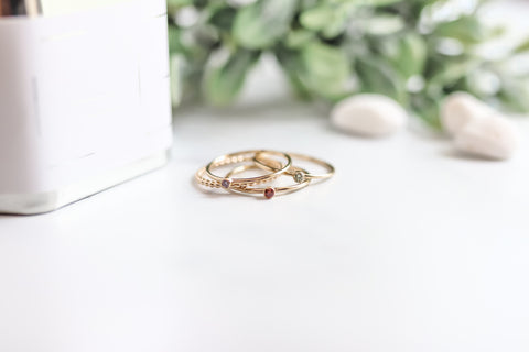 stacking birthstone ring {yellow gold}