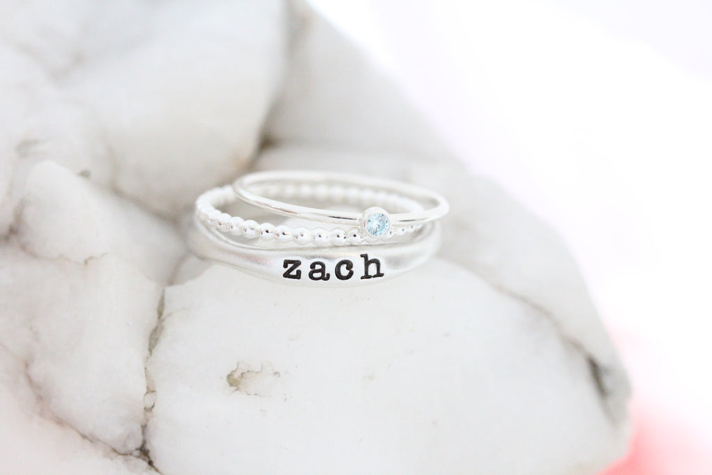 name ring + bead ring + birthstone ring {set of 3}