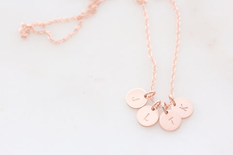 tiny initials { rose gold }