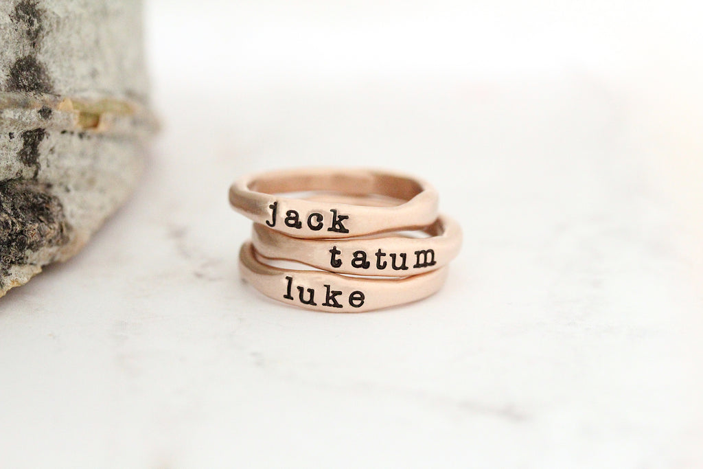 stackable name rings {14K gold}