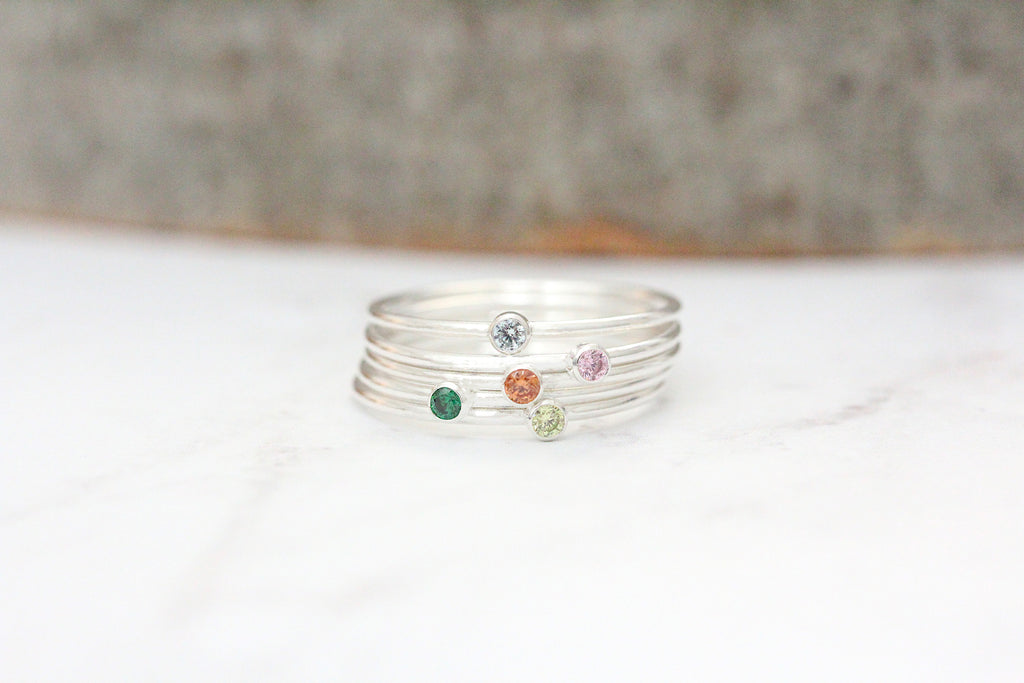 stacking birthstone ring {sterling silver}