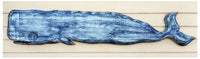 "Wooden Whale Reclaimed Wood Carving - 60"" - Sea Blue"