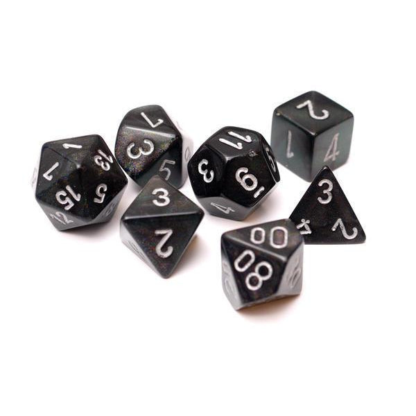 Chessex Dice: Borealis, 7-Piece Sets-Smoke w/Silver-LVLUP GAMES