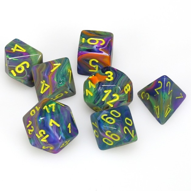 Chessex Dice: Festive, 7-Piece Sets-Rio w/Yellow-LVLUP GAMES