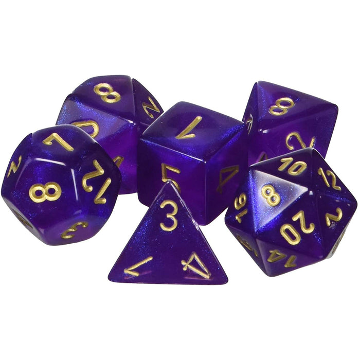 Chessex Dice: Borealis, 7-Piece Sets-Royal Purple w/Gold-LVLUP GAMES
