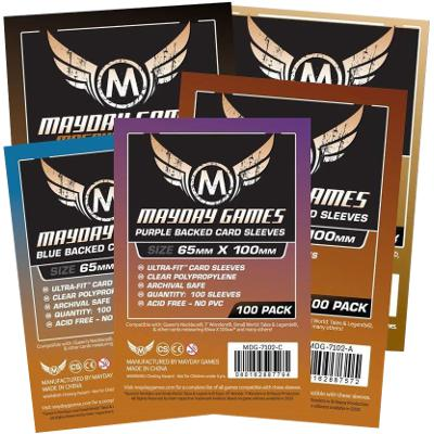 Mayday: Standard Soft Sleeves - Special Sized Sleeves 65x100mm, Clear w/Purple Back 100ct-LVLUP GAMES