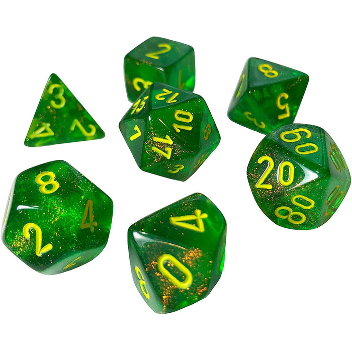 Chessex Dice: Borealis, 7-Piece Sets-Maple Green w/Yellow-LVLUP GAMES