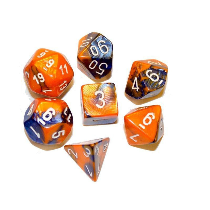 Chessex Dice: Gemini, 7-Piece Sets-Blue-Orange w/White-LVLUP GAMES